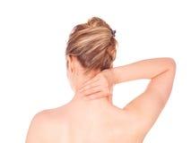 Mujer con dolor de cuello imagen de archivo libre de regalías