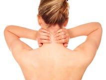 Mujer con dolor de cuello foto de archivo