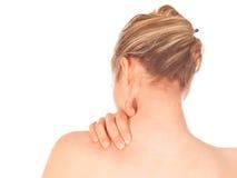 Mujer con dolor de cuello fotos de archivo