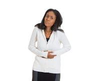 Mujer con dolor del abdomen del estómago Imágenes de archivo libres de regalías