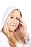 Mujer con dolor del dolor de cabeza Imagen de archivo libre de regalías