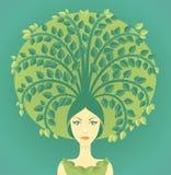 Mujer con el árbol stock de ilustración