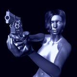 Mujer con el arma Imágenes de archivo libres de regalías