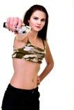 Mujer con el arma foto de archivo
