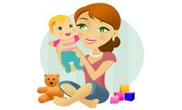 Mujer con el bebé juguetes Foto de archivo libre de regalías