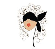 Mujer con el blindfold ilustración del vector