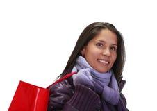 Mujer con el bolso de compras Fotos de archivo libres de regalías