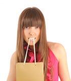 Mujer con el bolso de compras Fotografía de archivo libre de regalías