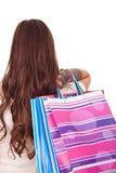 Mujer con el bolso de compras Foto de archivo libre de regalías