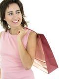 Mujer con el bolso de compras Imagenes de archivo
