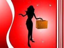 Mujer con el bolso de compras Imágenes de archivo libres de regalías