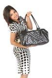 Mujer con el bolso de cuero Imagen de archivo