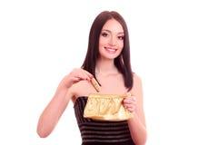 mujer con el bolso de los cosméticos fotos de archivo libres de regalías
