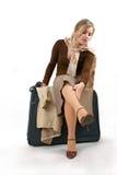 Mujer con el bolso enorme Fotografía de archivo