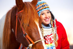 Mujer con el caballo Fotos de archivo