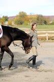 Mujer con el caballo de Brown en caída Imagen de archivo libre de regalías