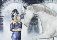 Mujer con el caballo en invierno Fotografía de archivo