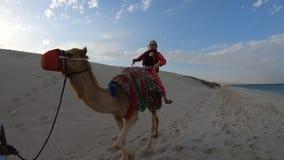 Mujer con el camello almacen de metraje de vídeo
