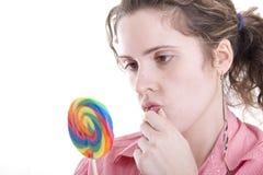 Mujer con el caramelo Imágenes de archivo libres de regalías