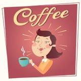 Mujer con el cartel del vector del café Fotos de archivo libres de regalías