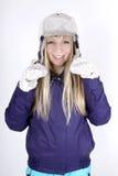 Mujer con el casco Foto de archivo libre de regalías