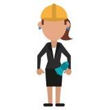 Mujer con el casco del trabajo del megáfono libre illustration