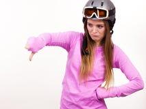 Mujer con el casco deportivo Imagen de archivo