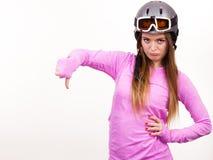 Mujer con el casco deportivo Fotografía de archivo libre de regalías