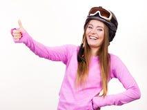 Mujer con el casco deportivo Foto de archivo