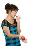 Mujer con el chocolate y la manzana Imagen de archivo libre de regalías