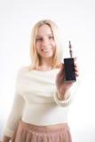 Mujer con el cigarrillo electrónico Fotos de archivo