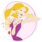 Mujer con el conjunto del accesorio ilustración del vector