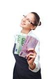 Mujer con el dinero Fotografía de archivo