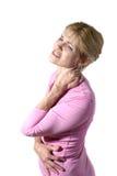 Mujer con el dolor de cuello severo 10 Foto de archivo libre de regalías