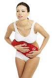 Mujer con dolor del vientre Foto de archivo libre de regalías