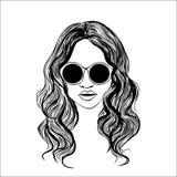 Mujer con el ejemplo del bosquejo de las gafas ilustración del vector