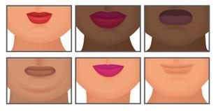 Mujer con el ejemplo gordo doble realista del vector del sistema de la barbilla stock de ilustración
