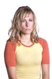 Mujer con el epression enojado fotos de archivo