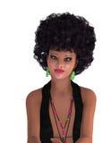 Mujer con el estilo de pelo afro aislado en blanco Imágenes de archivo libres de regalías