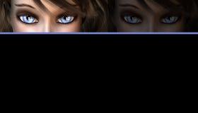 Mujer con el fondo de los ojos azules Imágenes de archivo libres de regalías