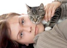 Mujer con el gato Fotografía de archivo libre de regalías