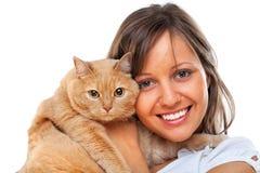 Mujer con el gato Imagenes de archivo
