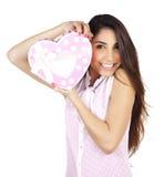 Mujer con el giftbox Foto de archivo libre de regalías
