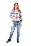 Mujer con el guante blanco y las brochas coloridas Fotografía de archivo