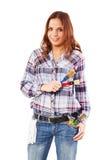 Mujer con el guante blanco y las brochas coloridas Foto de archivo libre de regalías