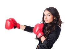 Mujer con el guante de boxeo Foto de archivo