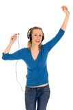 Mujer con el jugador MP3 Fotos de archivo