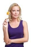 Mujer con el lollypop Foto de archivo libre de regalías