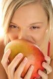 Mujer con el mango Imagen de archivo