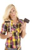 Mujer con el martillo y el socket Fotos de archivo